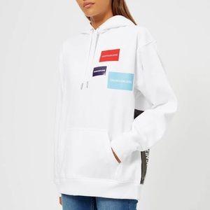 Women Calvin Klein Jeans multi logo hoodie white